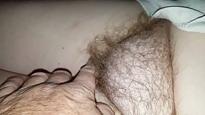 checking out her hairy bush before the..